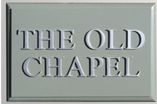 Hand Painted Rectangular Cast Sign STR4 - 2 lines of Straight Text with Chamfered Edge